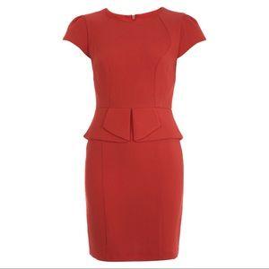 Miss selfridge Red cap sleeve textured peplum dres